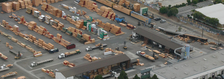 Image of aerial view of lumber yard